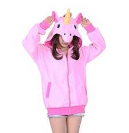 KiKa Monkey Cosplay Einhorn Tier Hoodie Jacke Pullover Party Kostüm (S, Rosa) -