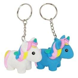 COM-FOUR® 2x magische squeeze Einhorn-Schlüsselanhänger in türkis und weiß, Unicorn-Anhänger zum Quetschen, 5,7 x 5,5 x 3 cm (02 Stück - Anhänger Squeeze Mix1) -