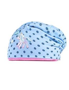"""maximo Baby - Mädchen Jersey Beanie """"Einhorn"""", gepunktet Mütze,, per pack Mehrfarbig (hellblau/denim - Punkte 81), 49 (Herstellergröße: 49) -"""